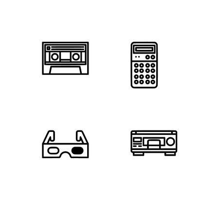 Retro tech and gadets. Set outline icon EPS 10 vector format. Professional pixel perfect black, white icons optimized for both large and small resolutions. Transparent background. Foto de archivo - 112088825