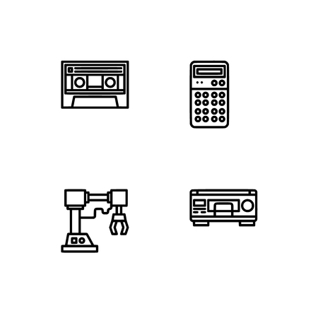 Retro tech and gadets. Set outline icon EPS 10 vector format. Professional pixel perfect black, white icons optimized for both large and small resolutions. Transparent background. Foto de archivo - 112088826