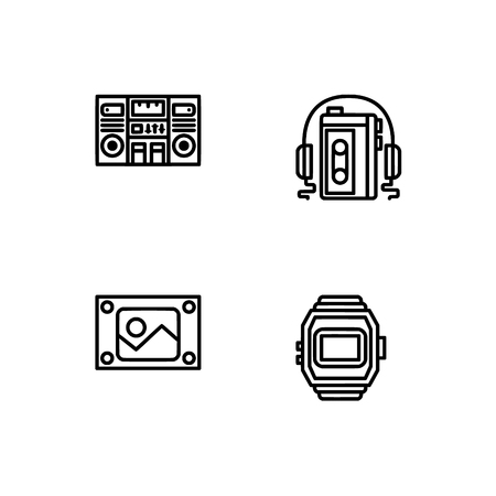 Retro tech and gadets. Set outline icon EPS 10 vector format. Professional pixel perfect black, white icons optimized for both large and small resolutions. Transparent background. Foto de archivo - 112088833