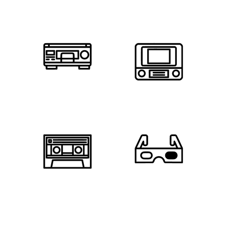 Retro tech and gadets. Set outline icon EPS 10 vector format. Professional pixel perfect black, white icons optimized for both large and small resolutions. Transparent background. Foto de archivo - 112088834