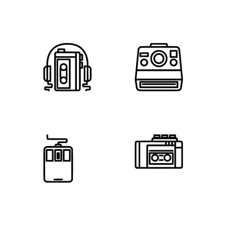 Retro tech and gadets. Set outline icon EPS 10 vector format. Professional pixel perfect black, white icons optimized for both large and small resolutions. Transparent background. Foto de archivo - 106766266