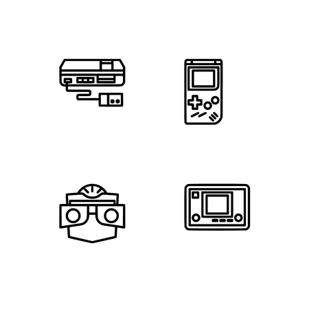Retro tech and gadets. Set outline icon EPS 10 vector format. Professional pixel perfect black, white icons optimized for both large and small resolutions. Transparent background.