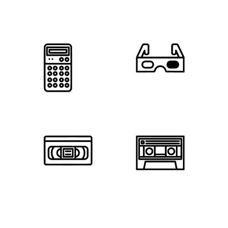 Tecnología retro y gadets. Establecer formato de vector Eps 10 icono de contorno. Iconos profesionales en blanco y negro con píxeles perfectos optimizados para resoluciones grandes y pequeñas. Fondo transparente.