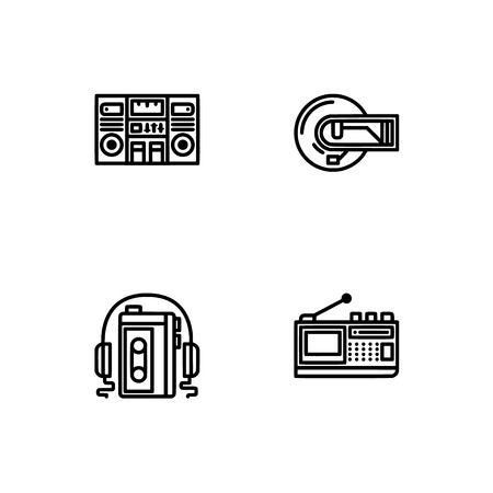 Retro tech and gadets. Set outline icon EPS 10 vector format. Professional pixel perfect black, white icons optimized for both large and small resolutions. Transparent background. Foto de archivo - 112088842