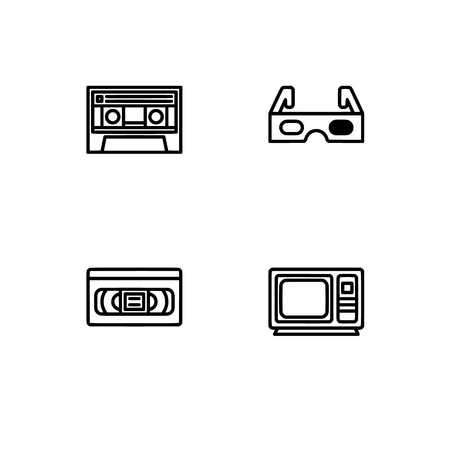 Retro tech and gadets. Set outline icon EPS 10 vector format. Professional pixel perfect black, white icons optimized for both large and small resolutions. Transparent background. Foto de archivo - 106766268