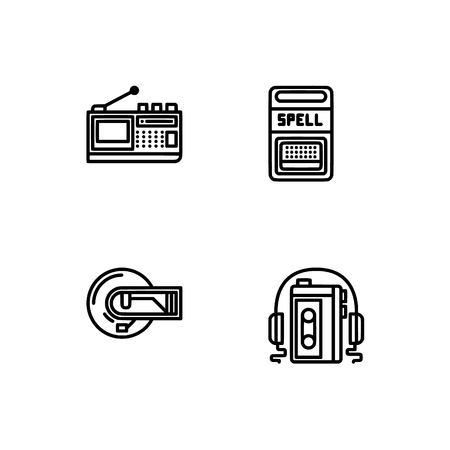 Retro tech and gadets. Set outline icon EPS 10 vector format. Professional pixel perfect black, white icons optimized for both large and small resolutions. Transparent background. Foto de archivo - 112088845