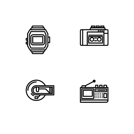 Retro tech and gadets. Set outline icon EPS 10 vector format. Professional pixel perfect black, white icons optimized for both large and small resolutions. Transparent background. Foto de archivo - 112088848