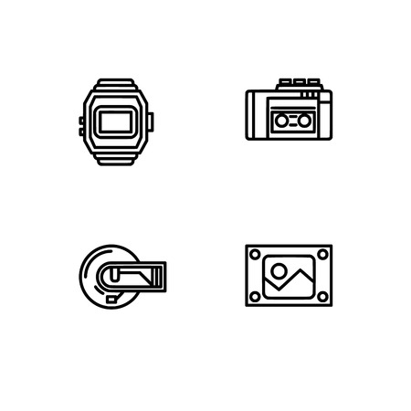 Retro tech and gadets. Set outline icon EPS 10 vector format. Professional pixel perfect black, white icons optimized for both large and small resolutions. Transparent background. Foto de archivo - 112088852