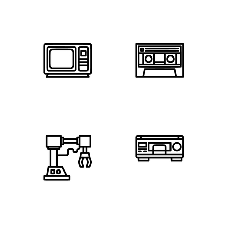 Retro tech and gadets. Set outline icon EPS 10 vector format. Professional pixel perfect black, white icons optimized for both large and small resolutions. Transparent background. Foto de archivo - 112088853