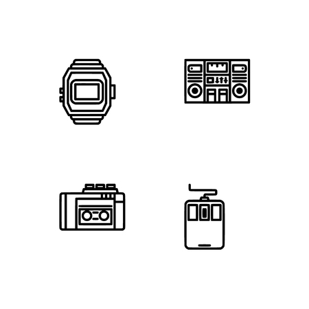 Retro tech and gadets. Set outline icon EPS 10 vector format. Professional pixel perfect black, white icons optimized for both large and small resolutions. Transparent background. Foto de archivo - 112088856