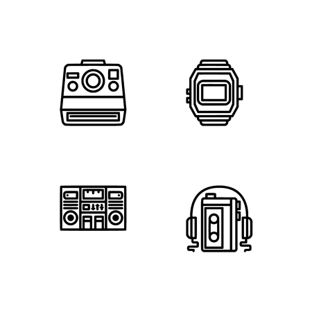 Retro tech and gadets. Set outline icon EPS 10 vector format. Professional pixel perfect black, white icons optimized for both large and small resolutions. Transparent background. Foto de archivo - 106766270