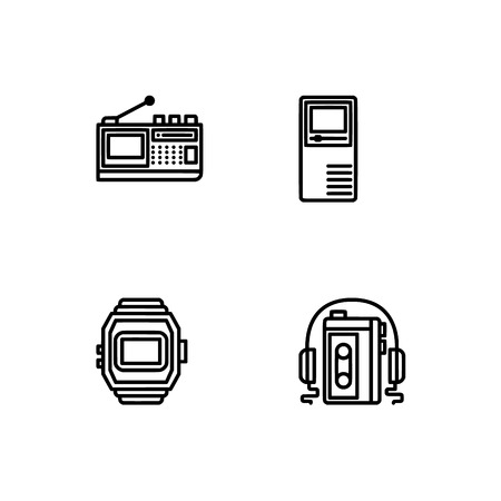 Retro tech and gadets. Set outline icon EPS 10 vector format. Professional pixel perfect black, white icons optimized for both large and small resolutions. Transparent background. Foto de archivo - 112088867