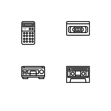 Retro tech and gadets. Set outline icon EPS 10 vector format. Professional pixel perfect black, white icons optimized for both large and small resolutions. Transparent background. Foto de archivo - 106766275