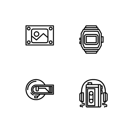 Retro tech and gadets. Set outline icon EPS 10 vector format. Professional pixel perfect black, white icons optimized for both large and small resolutions. Transparent background. Foto de archivo - 106178750