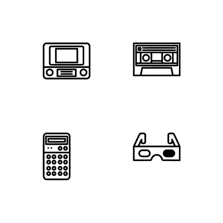 Retro tech and gadets. Set outline icon EPS 10 vector format. Professional pixel perfect black, white icons optimized for both large and small resolutions. Transparent background. Foto de archivo - 112088885