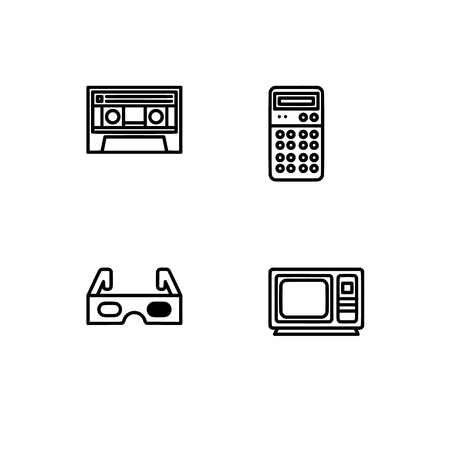 Retro tech and gadets. Set outline icon EPS 10 vector format. Professional pixel perfect black, white icons optimized for both large and small resolutions. Transparent background. Foto de archivo - 112088888
