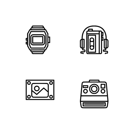 Retro tech and gadets. Set outline icon EPS 10 vector format. Professional pixel perfect black, white icons optimized for both large and small resolutions. Transparent background. Foto de archivo - 106766308