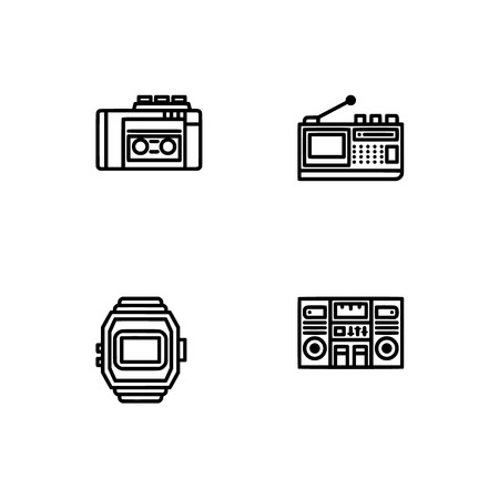 Retro tech and gadets. Set outline icon EPS 10 vector format. Professional pixel perfect black, white icons optimized for both large and small resolutions. Transparent background. Foto de archivo - 112088891