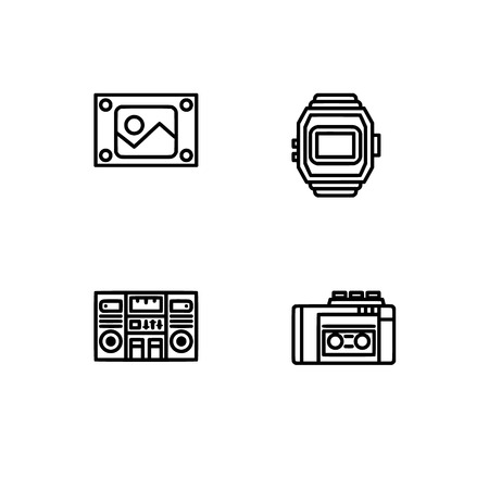 Retro tech and gadets. Set outline icon EPS 10 vector format. Professional pixel perfect black, white icons optimized for both large and small resolutions. Transparent background. Foto de archivo - 112088892
