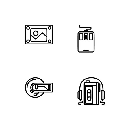 Retro tech and gadets. Set outline icon EPS 10 vector format. Professional pixel perfect black, white icons optimized for both large and small resolutions. Transparent background. Foto de archivo - 106178859