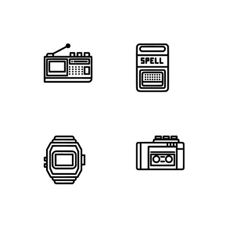 Retro tech and gadets. Set outline icon EPS 10 vector format. Professional pixel perfect black, white icons optimized for both large and small resolutions. Transparent background. Foto de archivo - 106178865