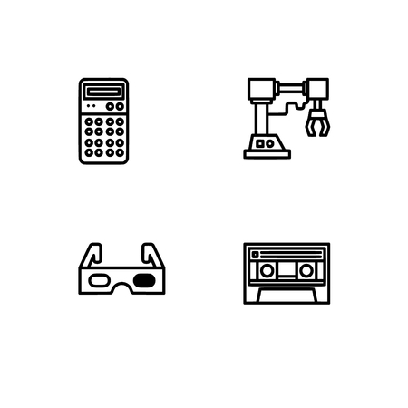 Retro tech and gadets. Set outline icon EPS 10 vector format. Professional pixel perfect black, white icons optimized for both large and small resolutions. Transparent background. Foto de archivo - 112088903