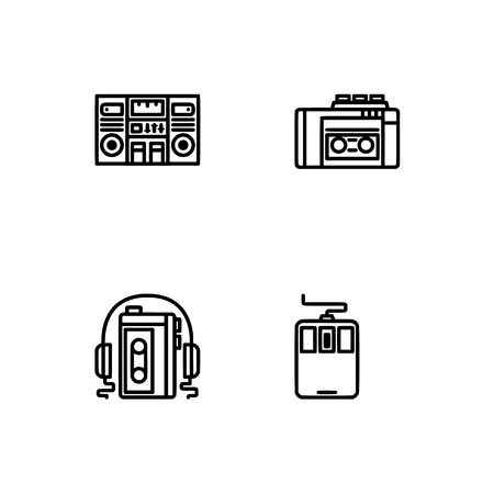 Retro tech and gadets. Set outline icon EPS 10 vector format. Professional pixel perfect black, white icons optimized for both large and small resolutions. Transparent background. Foto de archivo - 106179104