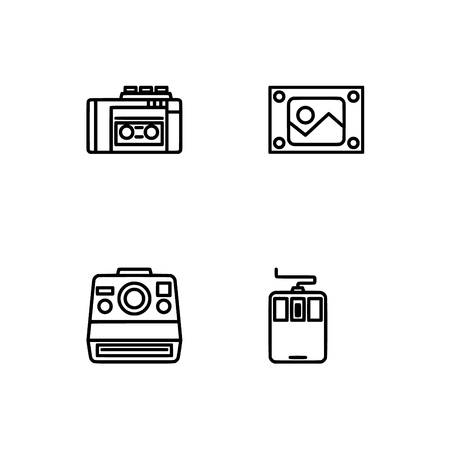 Retro tech and gadets. Set outline icon EPS 10 vector format. Professional pixel perfect black, white icons optimized for both large and small resolutions. Transparent background. Foto de archivo - 106766320
