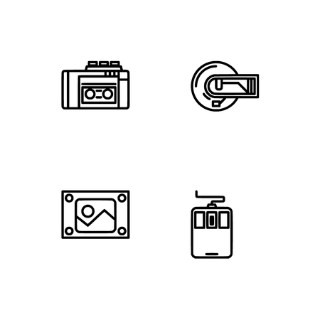 Retro tech and gadets. Set outline icon EPS 10 vector format. Professional pixel perfect black, white icons optimized for both large and small resolutions. Transparent background. Foto de archivo - 106766321