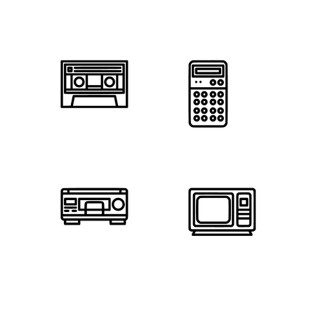 Retro tech and gadets. Set outline icon EPS 10 vector format. Professional pixel perfect black, white icons optimized for both large and small resolutions. Transparent background. Foto de archivo - 106766329