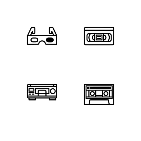 Retro tech and gadets. Set outline icon EPS 10 vector format. Professional pixel perfect black, white icons optimized for both large and small resolutions. Transparent background. Foto de archivo - 106766345