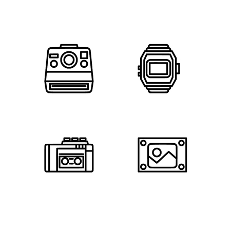 Retro tech and gadets. Set outline icon EPS 10 vector format. Professional pixel perfect black, white icons optimized for both large and small resolutions. Transparent background. Foto de archivo - 106766352