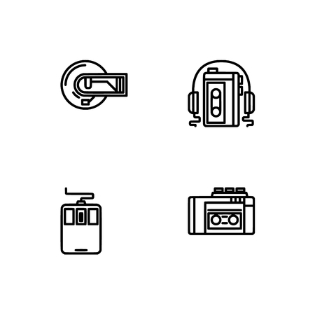 Retro tech and gadets. Set outline icon EPS 10 vector format. Professional pixel perfect black, white icons optimized for both large and small resolutions. Transparent background. Foto de archivo - 112088909
