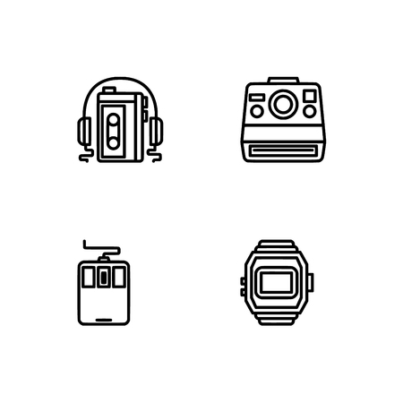 Retro tech and gadets. Set outline icon EPS 10 vector format. Professional pixel perfect black, white icons optimized for both large and small resolutions. Transparent background. Foto de archivo - 106766370