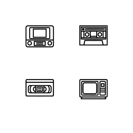 Retro tech and gadets. Set outline icon EPS 10 vector format. Professional pixel perfect black, white icons optimized for both large and small resolutions. Transparent background. Foto de archivo - 106766371