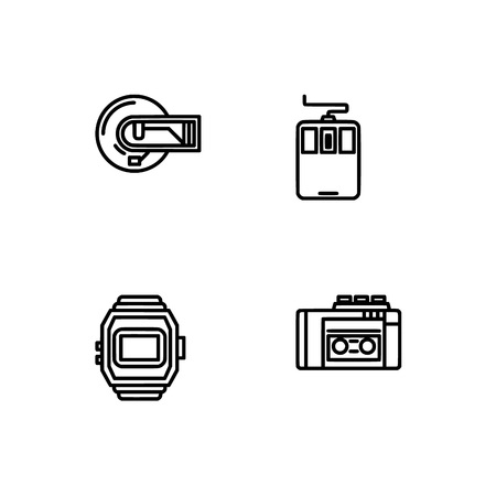 Retro tech and gadets. Set outline icon EPS 10 vector format. Professional pixel perfect black, white icons optimized for both large and small resolutions. Transparent background. Foto de archivo - 112088926