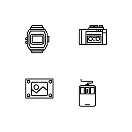 Retro tech and gadets. Set outline icon EPS 10 vector format. Professional pixel perfect black, white icons optimized for both large and small resolutions. Transparent background. Foto de archivo - 112088927