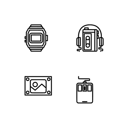 Retro tech and gadets. Set outline icon EPS 10 vector format. Professional pixel perfect black, white icons optimized for both large and small resolutions. Transparent background. Foto de archivo - 112088930