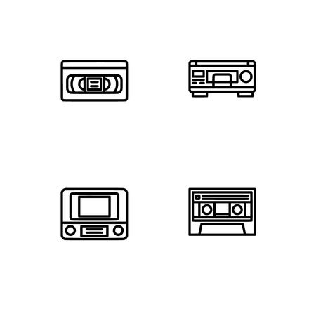 Retro tech and gadets. Set outline icon EPS 10 vector format. Professional pixel perfect black, white icons optimized for both large and small resolutions. Transparent background. Foto de archivo - 106766406