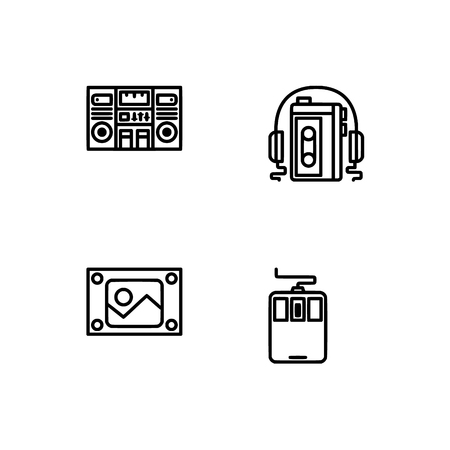 Retro tech and gadets. Set outline icon EPS 10 vector format. Professional pixel perfect black, white icons optimized for both large and small resolutions. Transparent background. Foto de archivo - 112088931