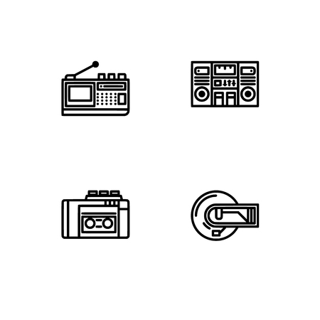 Retro tech and gadets. Set outline icon EPS 10 vector format. Professional pixel perfect black, white icons optimized for both large and small resolutions. Transparent background. Foto de archivo - 112088941