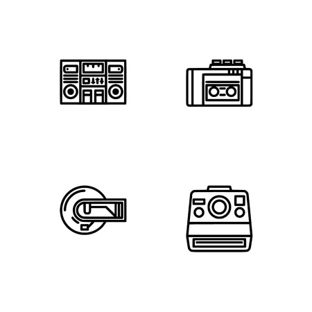 Retro tech and gadets. Set outline icon EPS 10 vector format. Professional pixel perfect black, white icons optimized for both large and small resolutions. Transparent background. Foto de archivo - 106766421