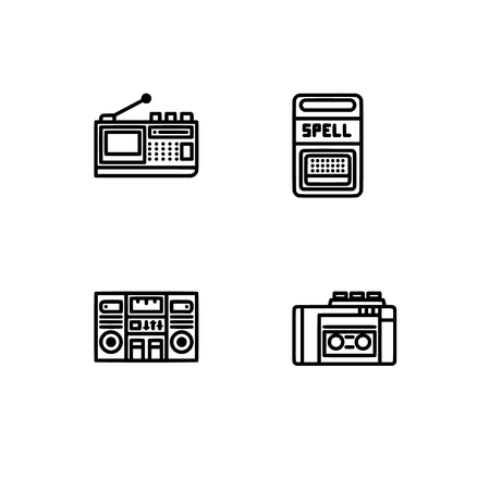 Retro tech and gadets. Set outline icon EPS 10 vector format. Professional pixel perfect black, white icons optimized for both large and small resolutions. Transparent background. Foto de archivo - 106766424