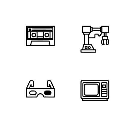 Retro tech and gadets. Set outline icon EPS 10 vector format. Professional pixel perfect black, white icons optimized for both large and small resolutions. Transparent background. Foto de archivo - 106766425