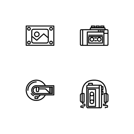 Retro tech and gadets. Set outline icon EPS 10 vector format. Professional pixel perfect black, white icons optimized for both large and small resolutions. Transparent background. Foto de archivo - 112088954