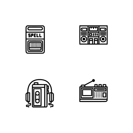 Retro tech and gadets. Set outline icon EPS 10 vector format. Professional pixel perfect black, white icons optimized for both large and small resolutions. Transparent background. Foto de archivo - 106179339