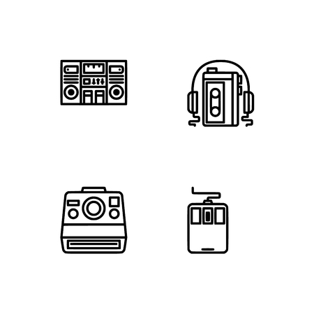 Retro tech and gadets. Set outline icon  vector format. Professional pixel perfect black, white icons optimized for both large and small resolutions. Transparent background. Foto de archivo - 106230712