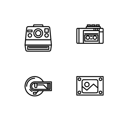 Retro tech and gadets. Set outline icon EPS 10 vector format. Professional pixel perfect black, white icons optimized for both large and small resolutions. Transparent background. Foto de archivo - 106766587