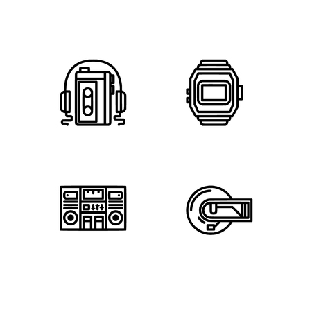 Retro tech and gadets. Set outline icon EPS 10 vector format. Professional pixel perfect black, white icons optimized for both large and small resolutions. Transparent background. Foto de archivo - 112088978