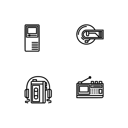 Retro tech and gadets. Set outline icon EPS 10 vector format. Professional pixel perfect black, white icons optimized for both large and small resolutions. Transparent background. Foto de archivo - 112088980